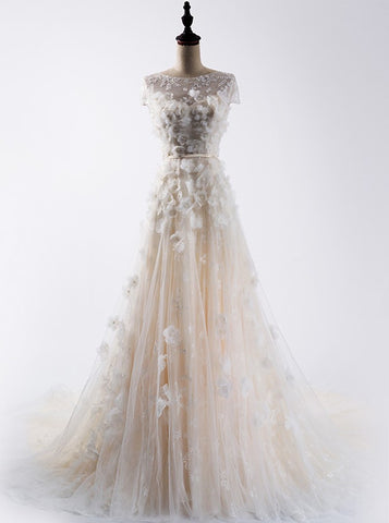 Charming A-line Scoop Floor-length Prom Drsess Wedding Dress SKY988