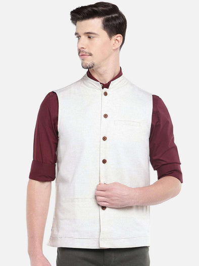 Cottonworld Men's Jackets MEN'S NATURAL COTTON LINEN NEHRU JACKET
