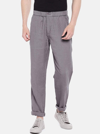 Cottonworld Men's Pants 30 / GREY Men's Linen Woven Grey Regular Fit Pants