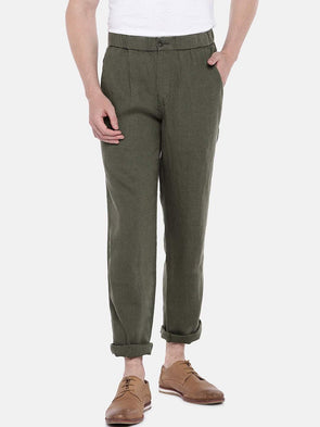 Cottonworld Men's Pants 30 / OLIVE Men's Linen Woven Olive Regular Fit Pants