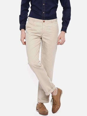 Men's Cotton Linen Beige Regular Fit Pants Cottonworld Men's Pants