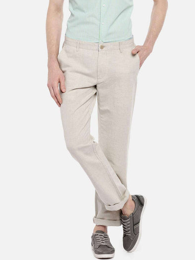 Cottonworld Men's Pants 77 CM-30 INS / NATURAL MEN'S 50% COTTON 50% LINEN NATURAL REGULAR FIT PANTS