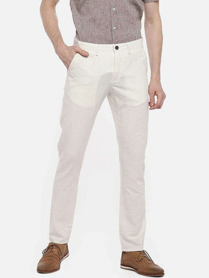 Cottonworld Men's Pants 77 CM-30 INS / NATURAL MEN'S 70% COTTON 30% LINEN NATURAL SLIM FIT PANTS