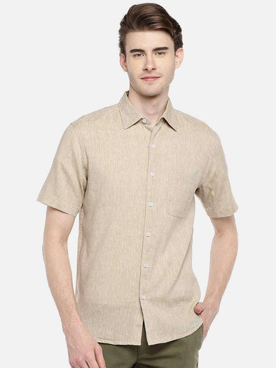 Cottonworld Men's Shirts 38 CM-SMALL / NATURAL MEN'S 60% LINEN 40% COTTON NATURAL REGULAR FIT SHIRTS