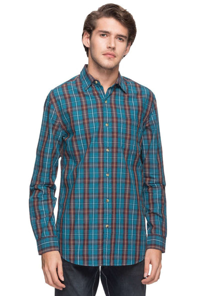 Cottonworld Men's Shirts MEN'S 100% COTTON TEAL REGULAR FIT SHIRTS-13484-17491-TEAL