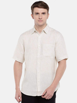 Cottonworld Men's Shirts Men's Linen Beige Regular Fit Shirts