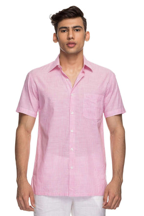 Cottonworld Men's Shirts Mens Half Sleeve Regular Fit 100% Cotton Shirts - Pink