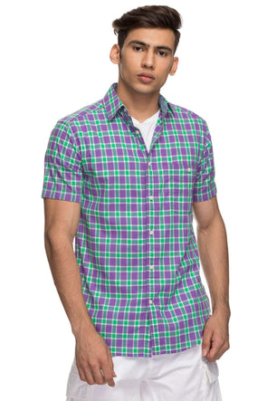 Cottonworld Men's Shirts Mens Half Sleeve With Contrast Inside Slv Hem.  Regular Fit 100% Cotton Shirts - Purple