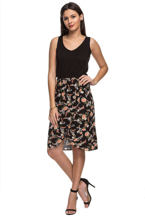 Cottonworld Women's Dresses 100% RAYON WOVEN BLACK REGULAR FIT DRESS