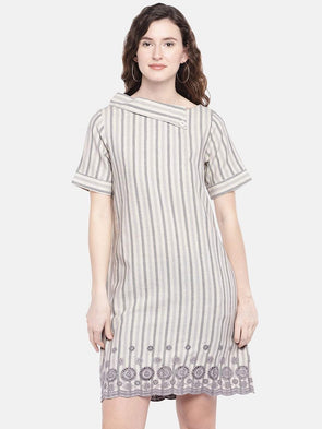 Cottonworld Women's Dresses XSMALL / GREY Women's 80% Cotton 20% Flax Woven Grey Regular Fit Dress