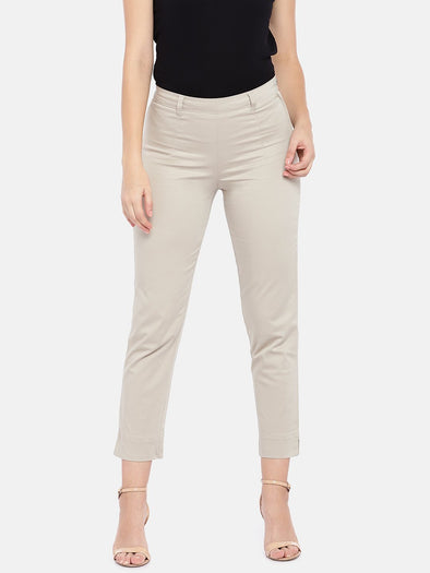 Cottonworld Women's Pants SMALL / KHAKI Women's Cotton Lycra Woven Khaki Regular Fit Pants