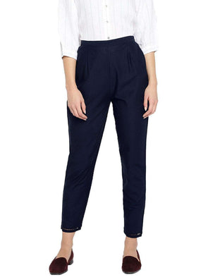 Cottonworld Women's Pants WOMEN'S 100% COTTON NAVY REGULAR FIT PANTS