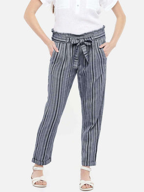 Women's Cotton Navy Regular Fit Pants
