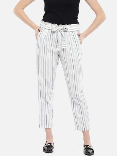 Cottonworld Women's Pants WOMEN'S 100% COTTON WHITE REGULAR FIT PANTS