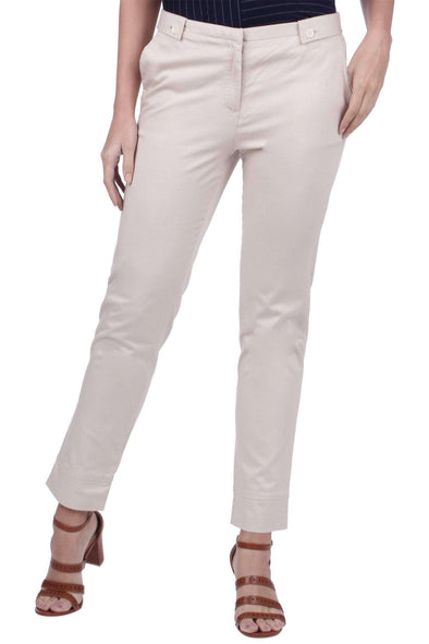 Cottonworld Women's Pants WOMEN'S 98% COTTON 2% LYCRA BEIGE REGULAR FIT PANTS
