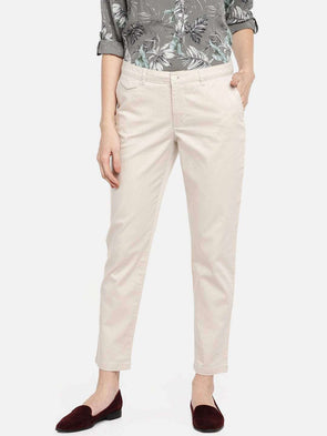 Cottonworld Women's Pants WOMEN'S 98% COTTON 2% LYCRA BEIGE STRAIGHT FIT PANTS