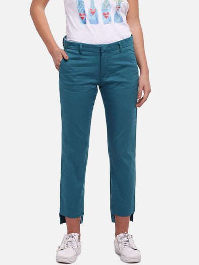 Cottonworld Women's Pants WOMEN'S 98% COTTON 2% LYCRA BLUE HAZE REGULAR FIT PANTS