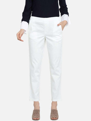 Cottonworld Women's Pants WOMEN'S 98% COTTON 2% LYCRA WHITE REGULAR FIT PANTS