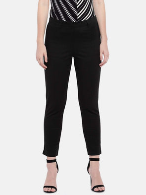 Cottonworld Women's Pants Women's Cotton Lycra Black Regular Fit Pants