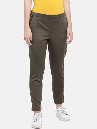 Cottonworld Women's Pants Women's Cotton Lycra Olive Regular Fit Pants
