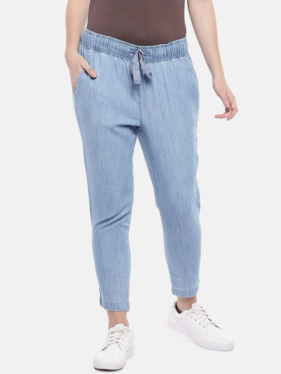 Cottonworld Women's Pants Women's Cotton Tencel Denim Blue Regular Fit Pants