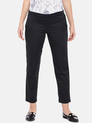 Cottonworld Women's Pants XSMALL / GREY Women's Cotton Lycra Woven Dark Grey Regular Fit Pants