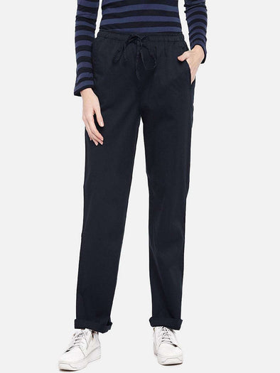 Cottonworld Women's Pants XSMALL / NAVY Women's Cotton Lycra Navy Regular Fit Pants