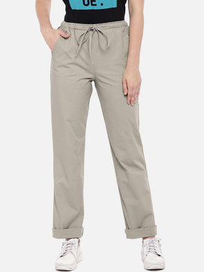 Cottonworld Women's Pants XSMALL / OLIVE Women's 98% Cotton 2% Lycra Woven Olive Regular Fit Pants