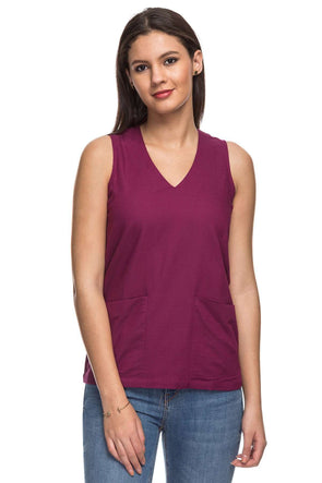Cottonworld Women's Tops 70% VISCOSE 30% COTTON WOVEN WINE REGULAR FIT BLOUSE