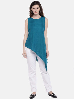 Cottonworld Women's Tops XSMALL / TEAL Women's 100% Linen Woven Teal Regular Fit Blouse