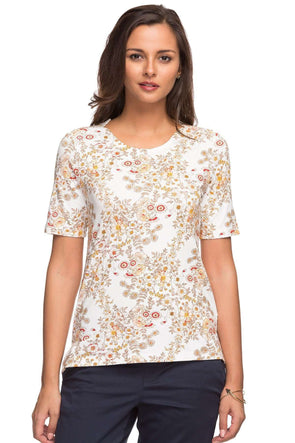 Cottonworld Women's Tshirts LADIES 95% VISCOSE 5% ELASTANE PRINTED NATURAL TSHIRT