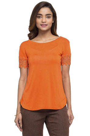 Women's Viscose Rust Slim Fit Tshirt Cottonworld Women's Tshirts
