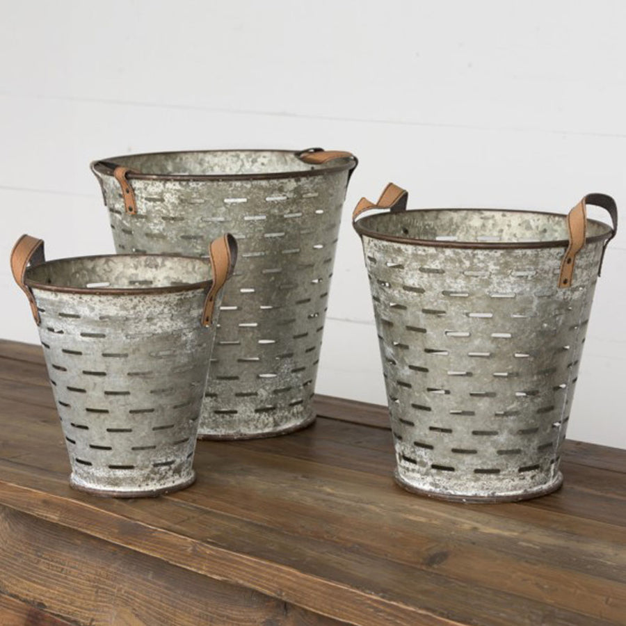 Metal Olive Buckets, farmhouse buckets, silver metal buckets