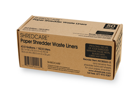 Shredcare Paper Shredder 43.0 Gallon Waste Liners, 50 Qty - SCB5043-LS