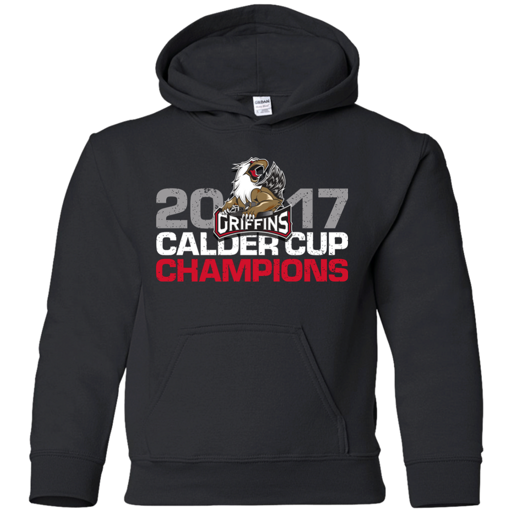 Grand Rapids Griffins 2017 Calder Cup Champions Distressed Youth Pullover Hoodie (Black-sidewalk sale)