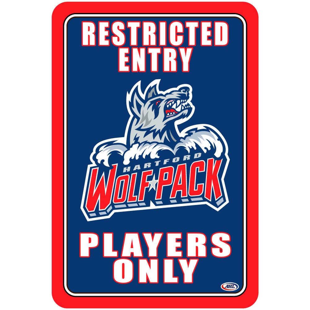 "Hartford Wolf Pack ""Players Only"" Sign"