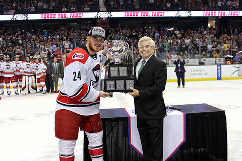 Charlotte Checkers 2019 Calder Cup Champions- 8 x 10 Photo of Patrick Brown Accepting the Calder Cup