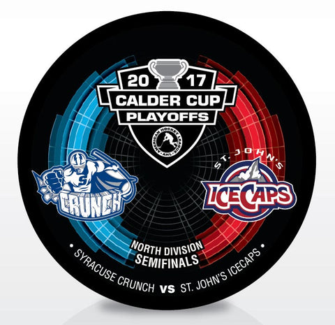 Syracuse Crunch vs. St. John's IceCaps 2017 Calder Cup Playoffs Dueling Souvenir Puck