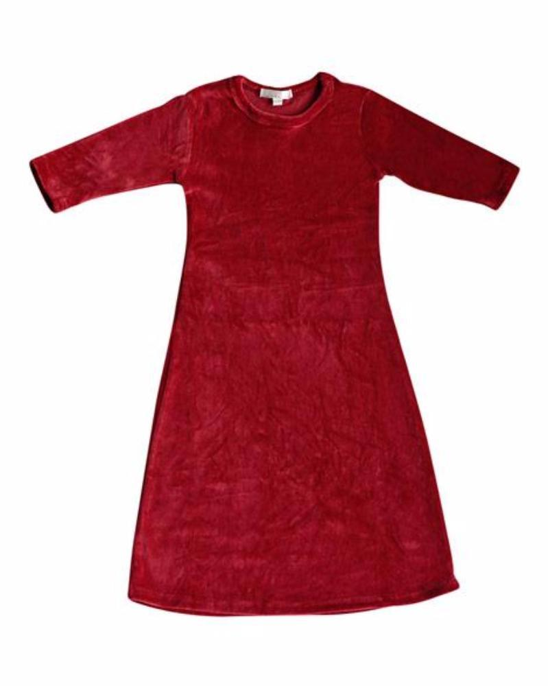 Girls' Wine Velour Dress