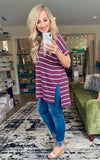 Kara Hi-Low Striped Top