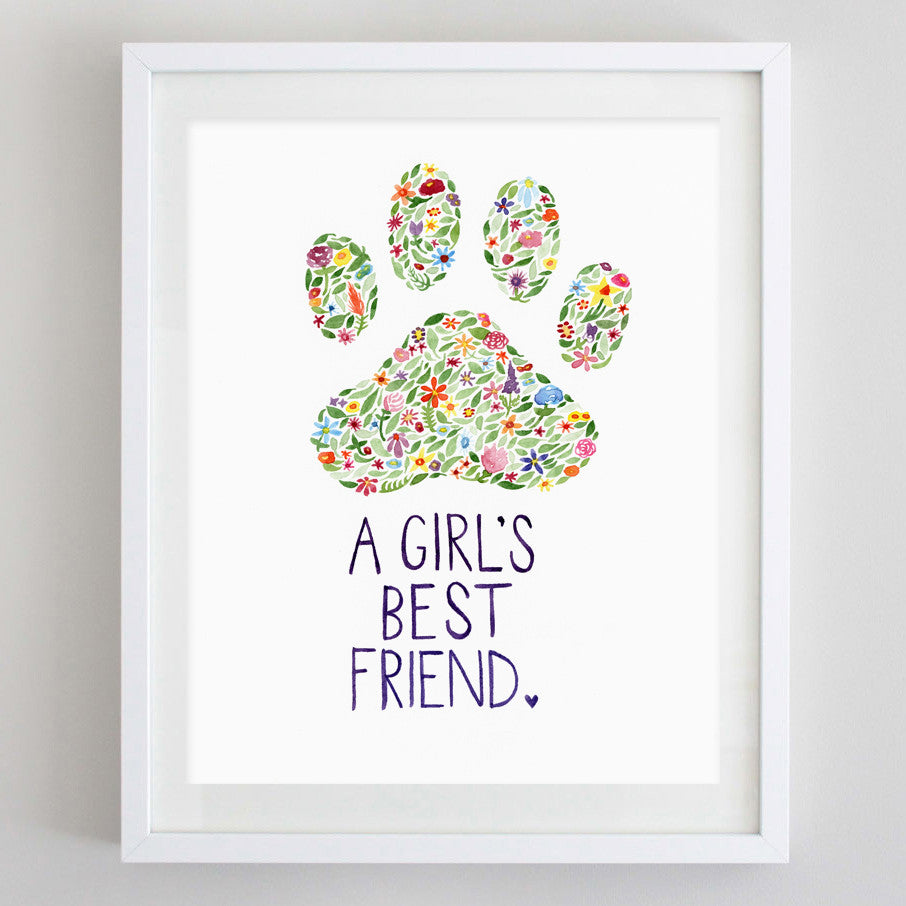 art print - girls best friend floral watercolor print - carly rae studio