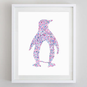 Penguin Floral Watercolor Art Print - Theta Phi Alpha