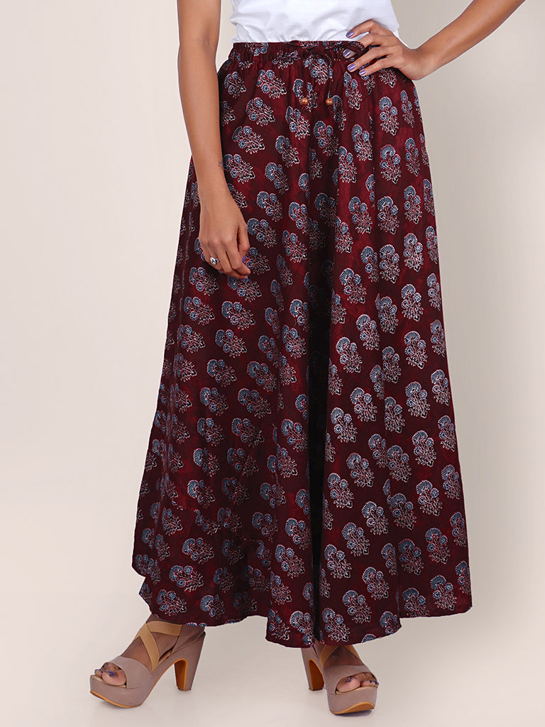 Floral Block Printed Flared Cotton-Satin Skirt - Maroon