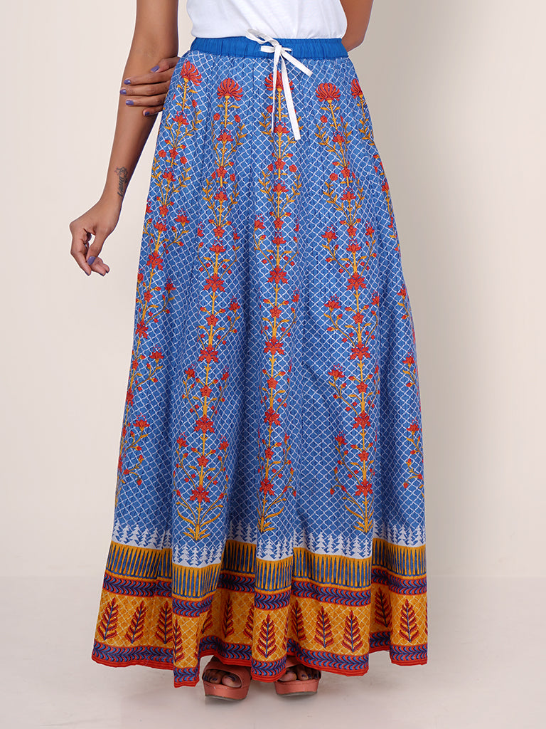 Tile & Floral Baile Printed Kalidaar Cotton Skirt - Cobalt Blue