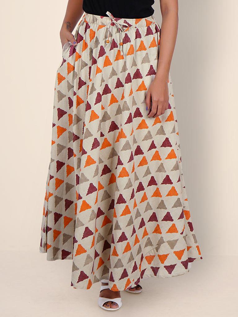 Wooden Beaded Latkan Work Triangle Print Cotton Skirt