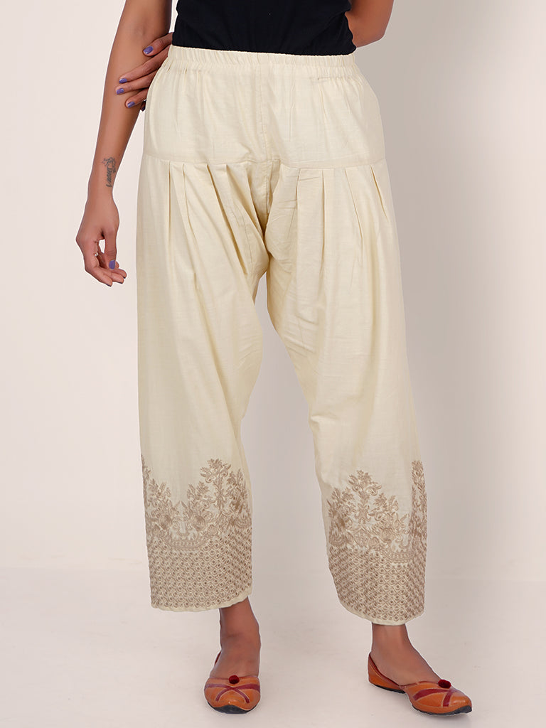 Resham Hakoba Cutwork & Floral Work Cotton Pants