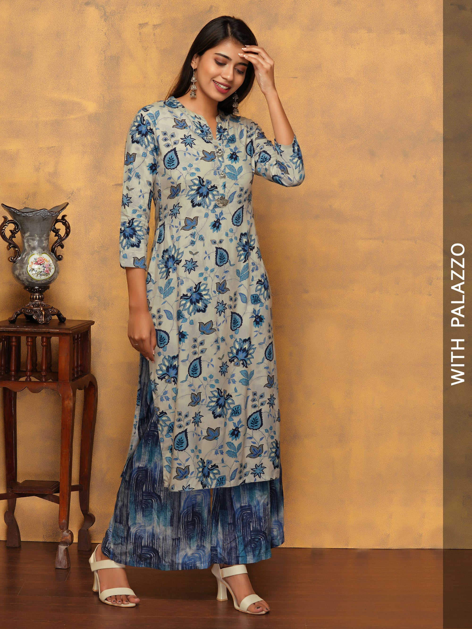 Abstract Floral & Leaf Printed Kurta with Abstract Printed Palazzo