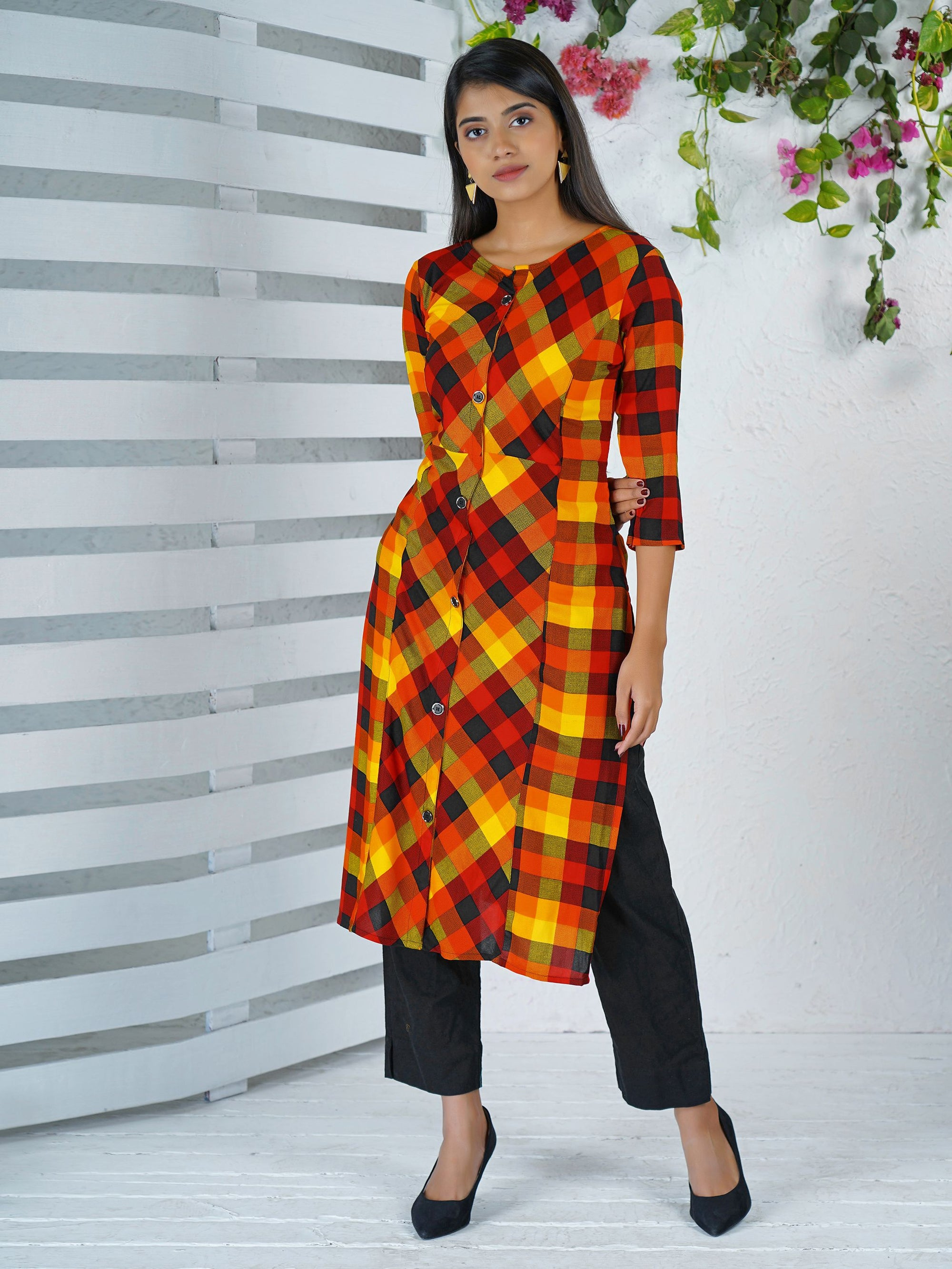 Silver Buttoned Checkered Printed Kurti – Orange