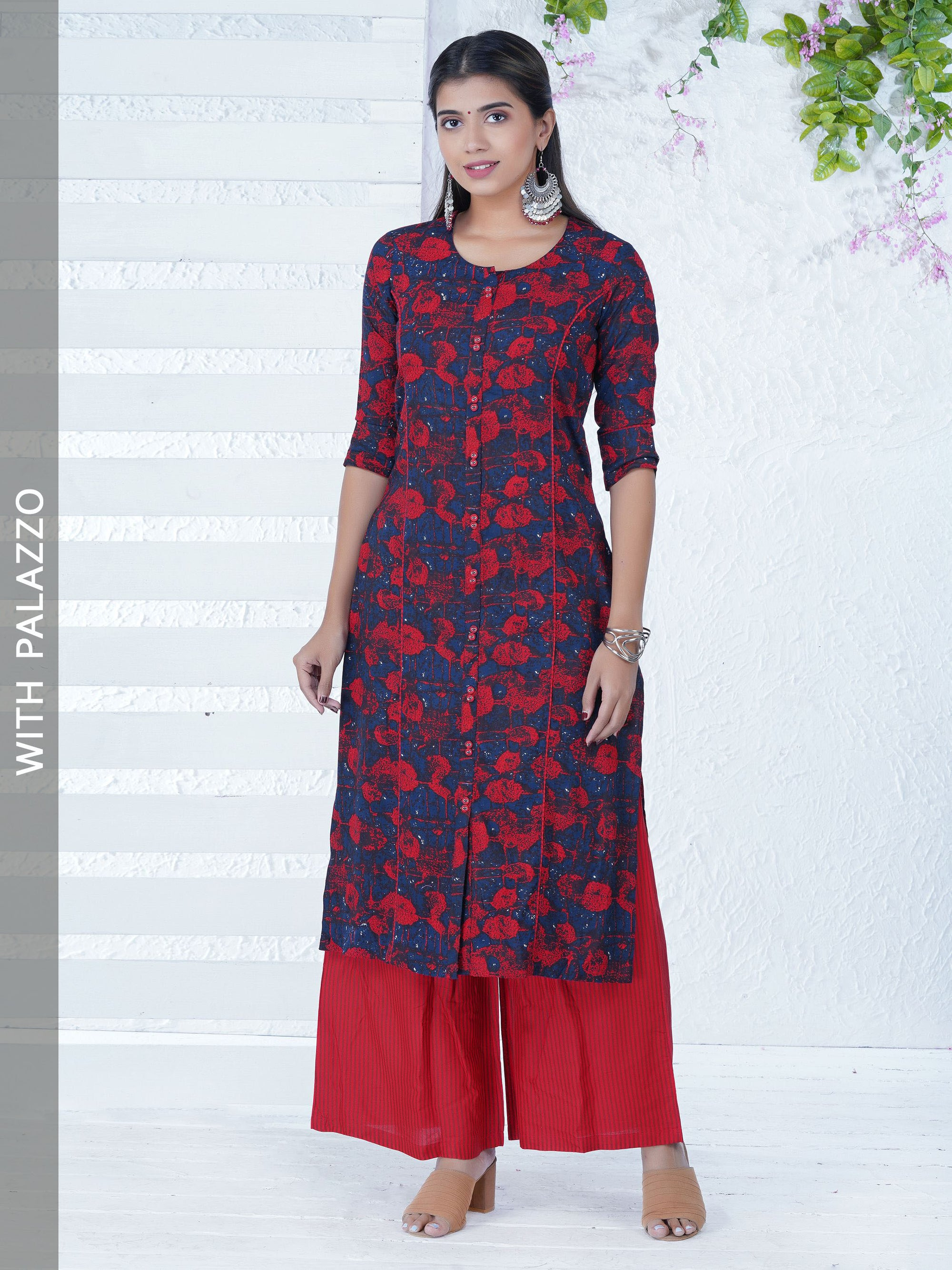 Abstract Printed Kurta with Printed Stripes Palazzo