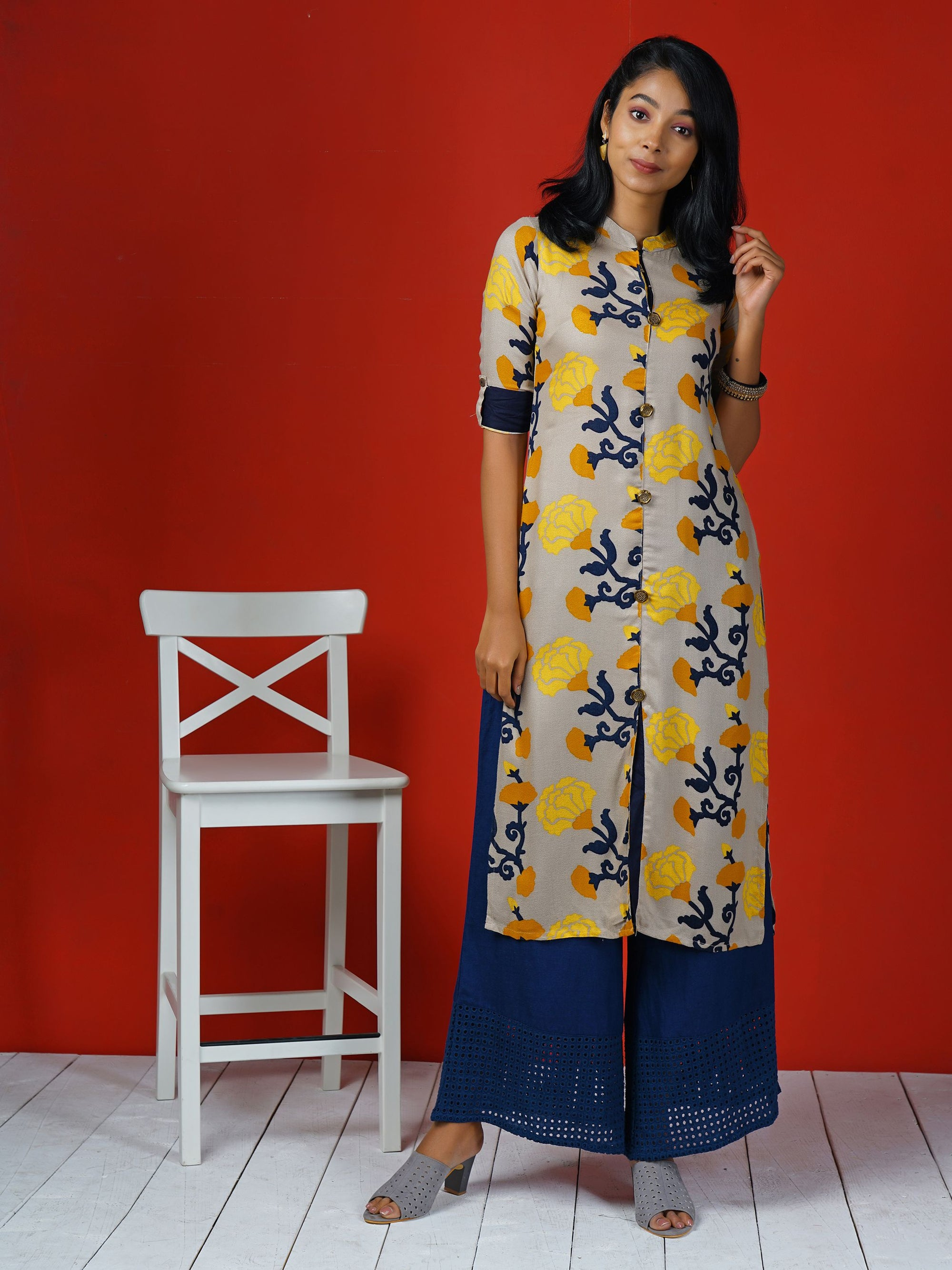 Abstract Marigold Floral Printed Kurta – Beige